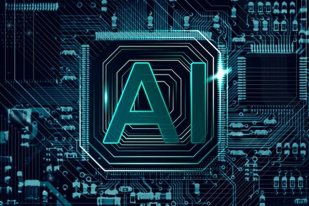 Technologia ai microchip w tle futurystyczna innowacja technologia remiks