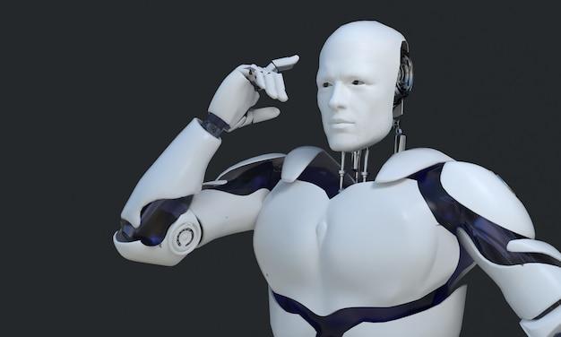 Technologia białego robota, który wskazuje głowę