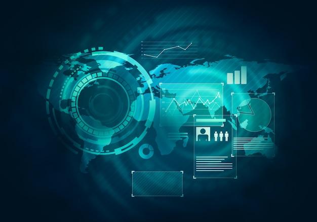 Technologia biznesowa futurystyczny niebieski interfejs graficzny wirtualny dotyk użytkownika