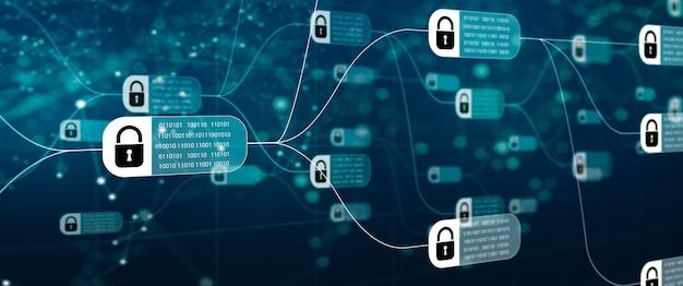 Technologia blockchain ze schematem łańcucha i zaszyfrowanych bloków na abstrakcyjnym tle