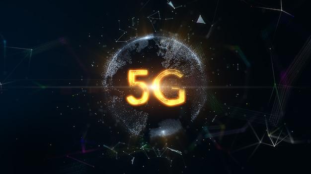 Technologia cyfrowej sztucznej inteligencji ziemi sieć 5g, koncepcja technologii holograficznej na świecie. renderowanie 3d.