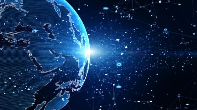 Technologia danych połączenie danych, sieć cyfrowa i koncepcja bezpieczeństwa cybernetycznego. element ziemi dostarczony przez nasa.