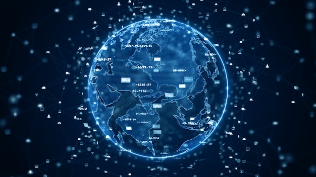 Technologia danych połączenie danych, sieć danych cyfrowych i koncepcja bezpieczeństwa cybernetycznego. element ziemi dostarczony przez nasa.