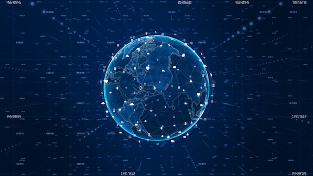 Technologia danych połączenie sieciowe i cyber security tło