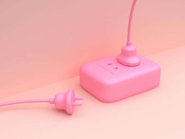 Technologia elektryczności renderowania 3d minimalne streszczenie różowy scena wtyczki zasilania