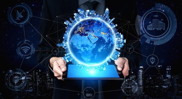 Technologia komunikacyjna 5g bezprzewodowa sieć internetowa dla globalnego wzrostu gospodarczego, mediów społecznościowych, cyfrowego handlu elektronicznego i rozrywki do użytku domowego.