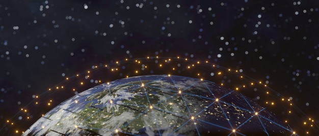 Technologia komunikacyjna dla biznesu internetowego. globalna sieć światowa i telekomunikacja na ziemi, renderowanie 3d