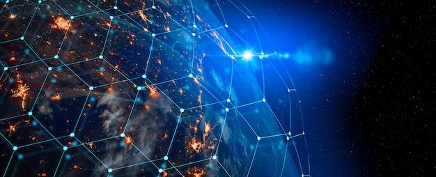 Technologia komunikacyjna dla biznesu internetowego. globalna światowa sieć i telekomunikacja na ziemi, kryptowaluta i blockchain oraz internet rzeczy. elementy tego obrazu dostarczone przez nasa