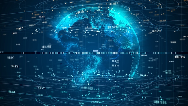 Technologia network data connection, digital network i cyber security
