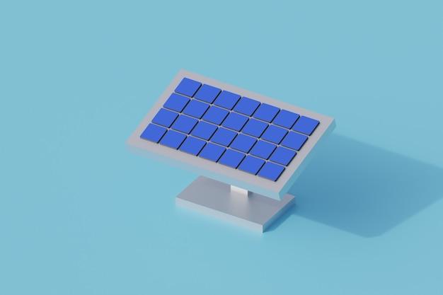 Technologia paneli słonecznych pojedynczy izolowany obiekt. 3d render ilustracji izometryczny