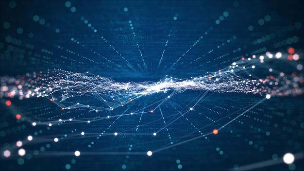 Technologia połączenia danych cyfrowych i koncepcji big data. abstrakcyjne linie i kropki łączą tło. futurystyczny kształt. wygenerowane komputerowo abstrakcyjne tło. renderowanie 3d.