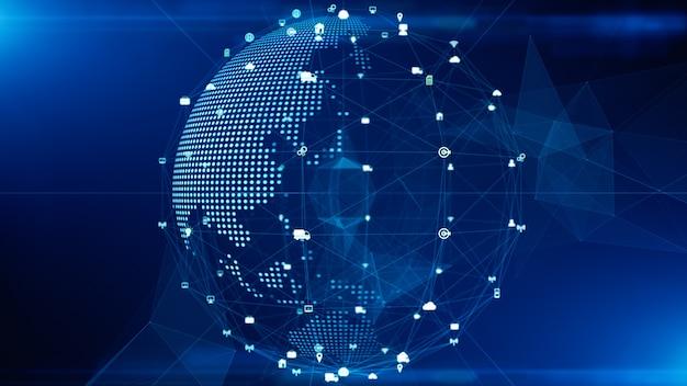 Technologia połączenia danych sieci, sieci cyfrowej i koncepcji bezpieczeństwa cybernetycznego. element ziemi dostarczony przez nasa.