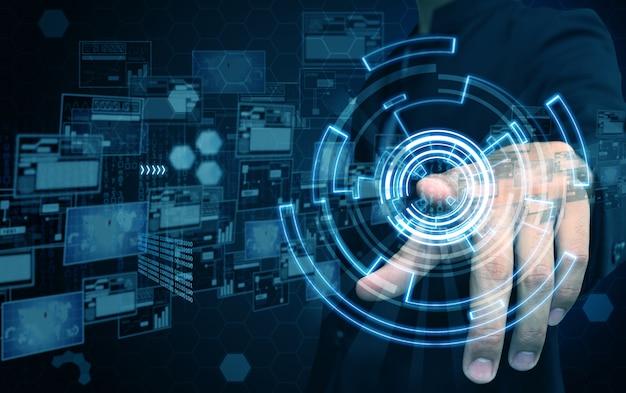 Technologia prasy biznesmen