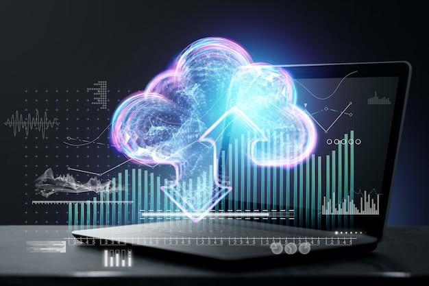 Technologia przesyłania danych, technologia chmury z ikonami usługi wirtualnej chmury i hologramem w chmurze na tle laptopa. koncepcja technologii, przechowywanie danych, przyszłość. podwójna ekspozycja.