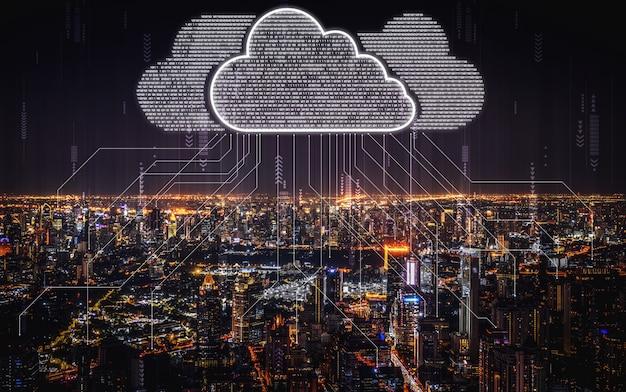 Technologia przetwarzania w chmurze i przechowywanie danych online dla koncepcji sieci biznesowej.