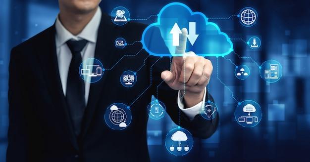 Technologia przetwarzania w chmurze i przechowywanie danych online dla koncepcji sieci biznesowej