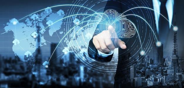 Technologia przetwarzania w chmurze i przechowywanie danych online do globalnego udostępniania danych