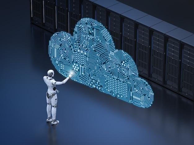 Technologia przetwarzania w chmurze z robotem z chmurą obwodów w serwerowni