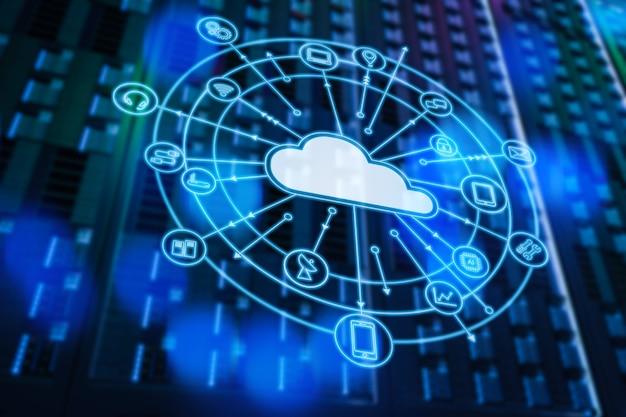 Technologia przetwarzania w chmurze z serwerownią renderującą 3d i wyświetlaczem graficznym