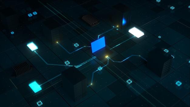 Technologia renderowania 3d tła. koncepcja z laptopem, tabletem, telefonem komórkowym i serwerami, które są ze sobą połączone. komunikacja i networking.