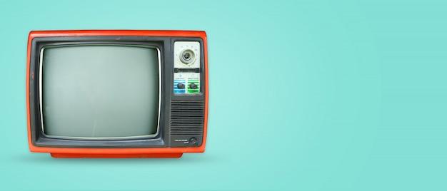 Technologia retro. nagłówek bohatera z płaskim layem, widok z góry.