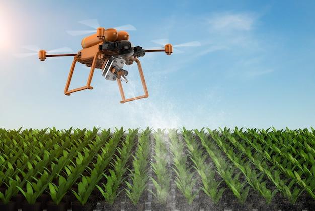 Technologia rolnicza z dronem latającym nad ogrodem warzywnym