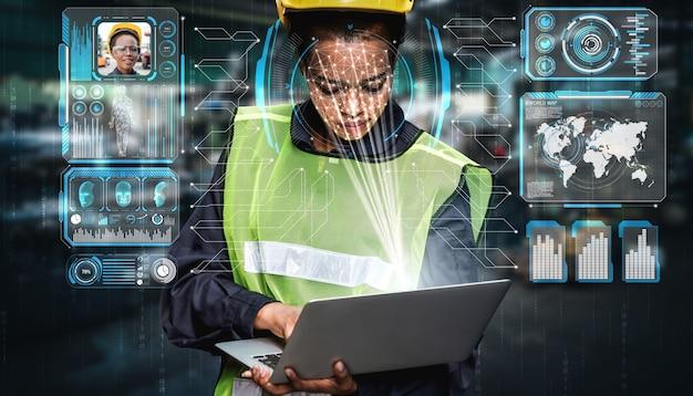 Technologia Rozpoznawania Twarzy Dla Pracowników Przemysłu W Celu Uzyskania Dostępu Do Sterowania Maszyną Premium Zdjęcia