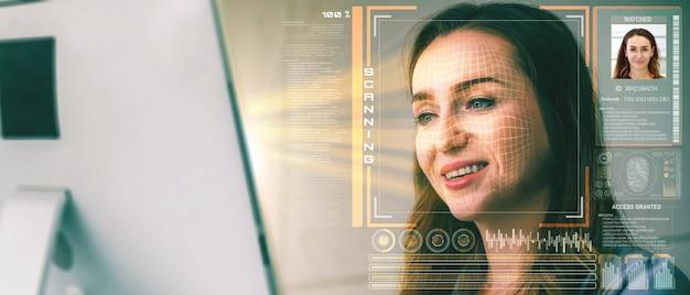 Technologia rozpoznawania twarzy skanuje i wykrywa twarze ludzi w celu identyfikacji