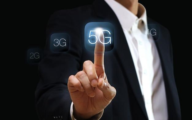 Technologia sieci 5g. koncepcja biznesu internetowego.
