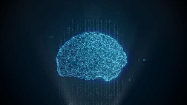 Technologia skanowania mózgu. animacja 3d ludzkiego mózgu. sztuczna inteligencja. diagnostyka neurochirurgiczna. głębokie uczenie, sztuczna inteligencja i nowoczesna technologia renderowania 3d.