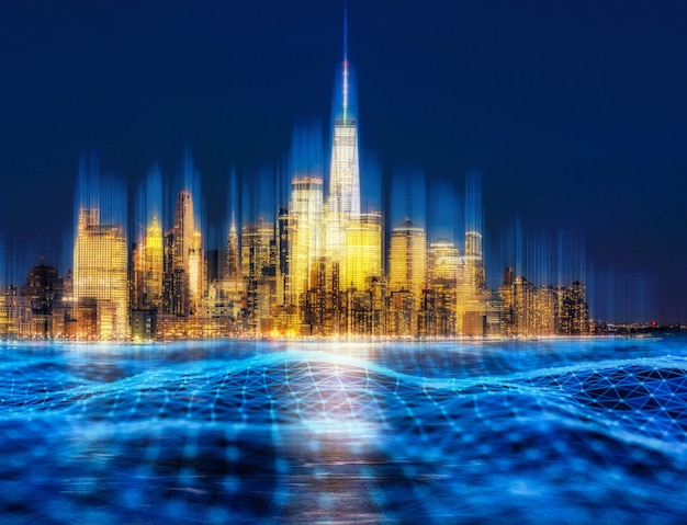 Technologia smart city i połączenie nowojorskiego panoramicznego brzegu rzeki o zmierzchu, usa,
