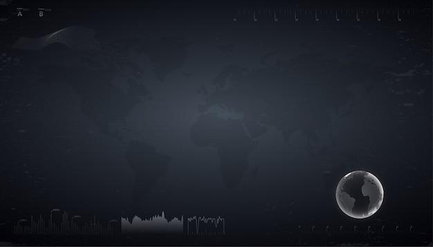 Technologia streszczenie tło. ciemny futurystyczny interfejs użytkownika sci-fi z mapą świata, analizującym dane i wykresy. ilustracja w stylu hud.
