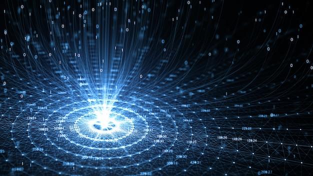 Technologia sztuczna inteligencja (ai) i internet rzeczy animacja sieci iot