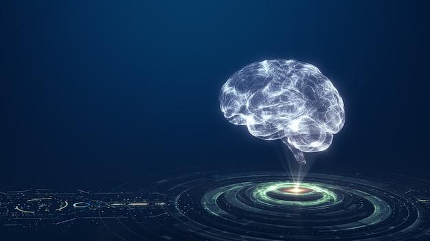Technologia sztuczna inteligencja (ai) koncepcja cyfrowej animacji mózgu. analiza przepływu dużych zbiorów danych. głębokie uczenie nowoczesnych technologii. futurystyczna innowacja w zakresie technologii cybernetycznych. szybka sieć cyfrowa.