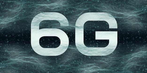 Technologia szybkiego internetu logo 6g nowoczesna komunikacja nowoczesny internet i sieć na tle siatki