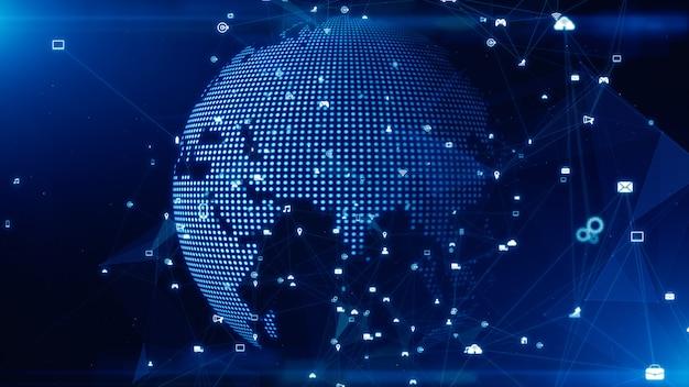 Technologia transmisji danych sieci, sieć cyfrowa i koncepcja bezpieczeństwa cybernetycznego.
