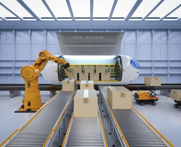 Technologia transportu z robotem renderującym 3d przenosi kartony do pociągu automatyzacji