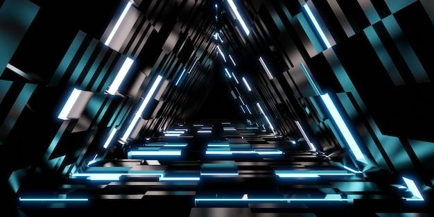Technologia tunelu laserowego trójkątne drzwi korytarza z neonową ilustracją 3d