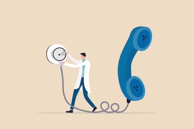 Technologia usług telezdrowia lub telemedycyny, którą lekarz może zdiagnozować pacjenta za pośrednictwem rozmowy telefonicznej