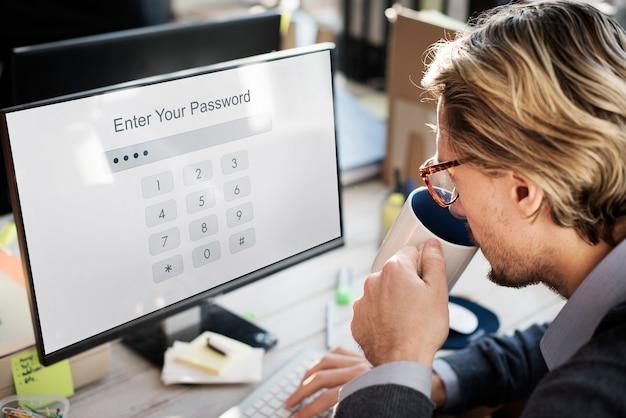 Technologia wprowadź hasło bezpieczeństwo graficzna koncepcja