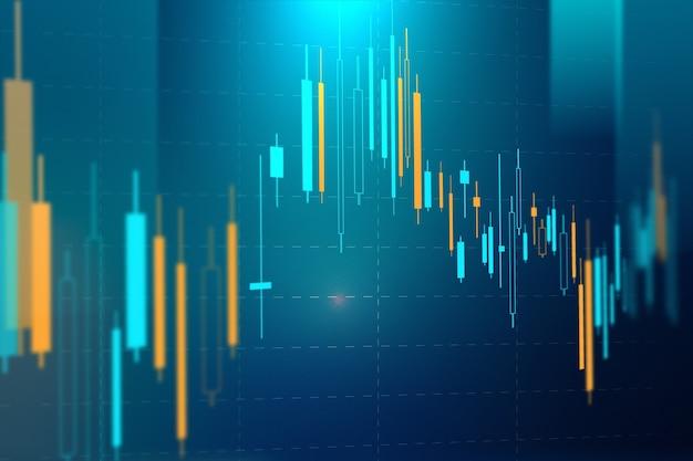 Technologia wykresu giełdowego niebieskie tło