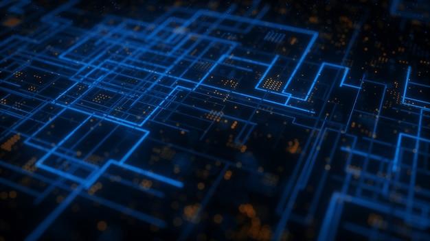 Technologiczne abstrakcyjne tło ilustracja hud scifi 3d