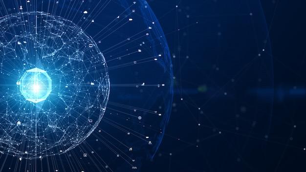 Technologii sieci połączenie danych, sieć cyfrowa i cyberbezpieczeństwa tła pojęcie. element ziemi dostarczony przez nasa.