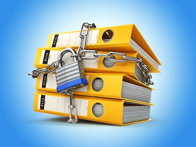 Teczka na dokumenty i łańcuszek z zamkiem. bezpieczeństwo danych i prywatności. ochrona informacji. 3d