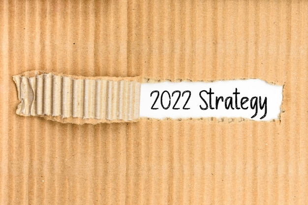 Teczka z dokumentami ze strategią biznesową na 2022 r. zapisaną na podartej okładce