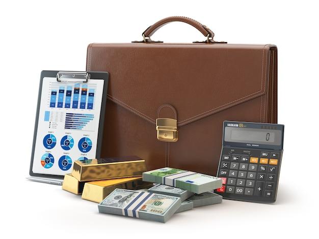 Teczka z kalkulatorem złoto i pieniądze na białym tle