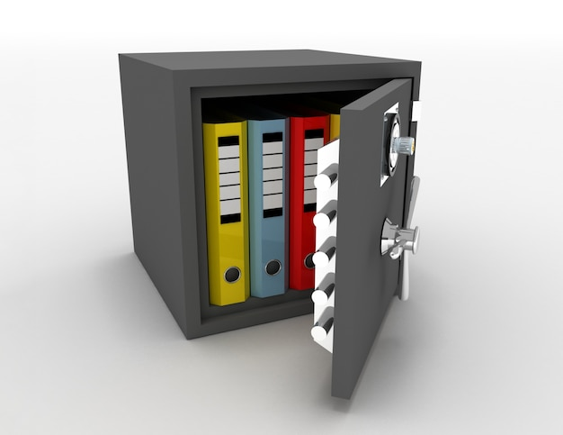 Teczki biurowe w otwartym metalowym sejfie. 3d renderowana ilustracja