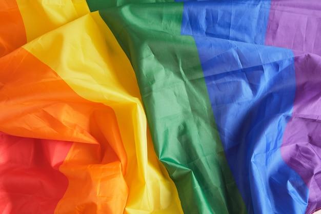 Tęczowa flaga lgbt tło kopia przestrzeń zmięty symbol flagi społeczności lgbt