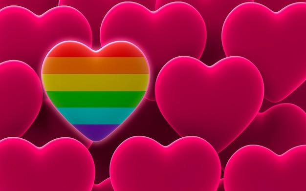 Tęczowe serce dumy w tle serc walentynkowych w kolorze różowym