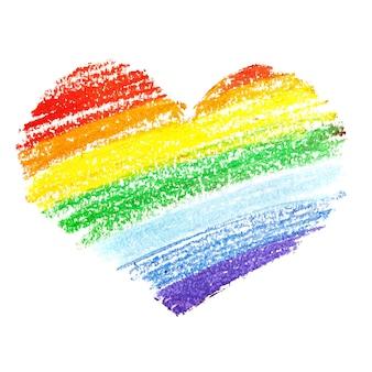 Tęczowy hart kredką na białym tle. gejowska duma